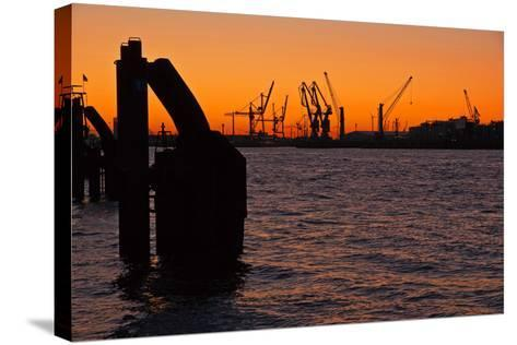 Morning on the River Elbe in Hamburg Harbor-Thomas Ebelt-Stretched Canvas Print