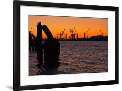 Morning on the River Elbe in Hamburg Harbor-Thomas Ebelt-Framed Art Print