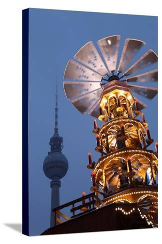 Germany, Berlin, Dusk, Alexanderplatz, Christmas Market, Pyramid, Television Tower-Catharina Lux-Stretched Canvas Print