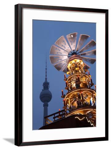 Germany, Berlin, Dusk, Alexanderplatz, Christmas Market, Pyramid, Television Tower-Catharina Lux-Framed Art Print
