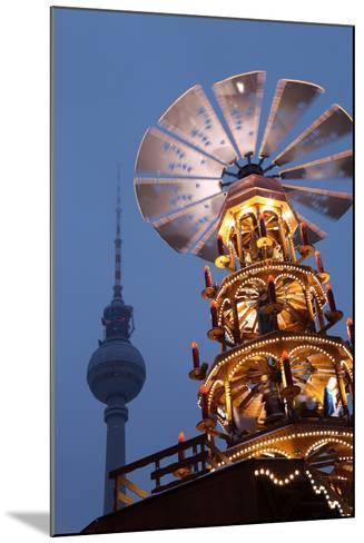 Germany, Berlin, Dusk, Alexanderplatz, Christmas Market, Pyramid, Television Tower-Catharina Lux-Mounted Photographic Print
