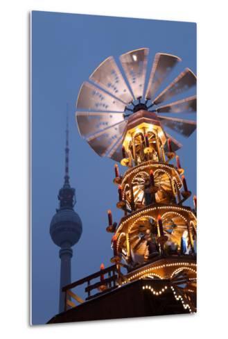 Germany, Berlin, Dusk, Alexanderplatz, Christmas Market, Pyramid, Television Tower-Catharina Lux-Metal Print