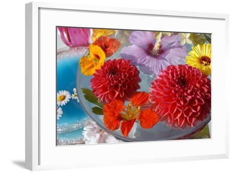Table Decoration, Coloured Blossoms and Water Bowl-Alaya Gadeh-Framed Art Print