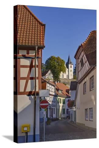Germany, Hesse, Odenwald (Region), Bergstra§e (Region), Zwingenberg Town Roads with Bergkirche-Udo Siebig-Stretched Canvas Print