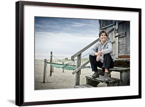 Germany, Schleswig-Holstein, Amrum, Sandy Beach, Sand Bar 'Kniepsand', Hut, Woman-Ingo Boelter-Framed Art Print