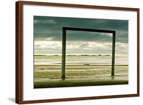 Germany, Schleswig-Holstein, Amrum, Sandy Beach, Sandbank, Kniepsand, Wooden Gate-Ingo Boelter-Framed Art Print