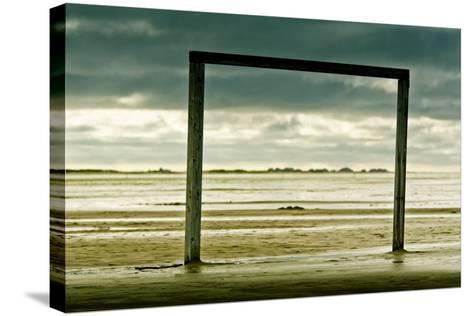 Germany, Schleswig-Holstein, Amrum, Sandy Beach, Sandbank, Kniepsand, Wooden Gate-Ingo Boelter-Stretched Canvas Print
