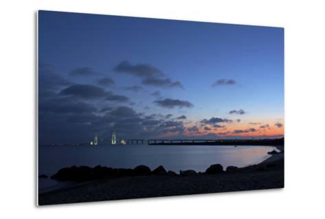 Denmark, Funen, Great Belt Bridge, Illuminated, Evening Mood-Chris Seba-Metal Print