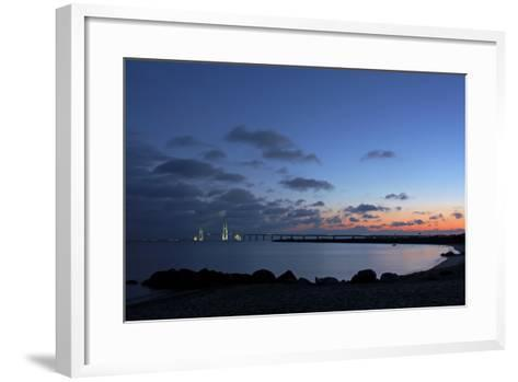 Denmark, Funen, Great Belt Bridge, Illuminated, Evening Mood-Chris Seba-Framed Art Print