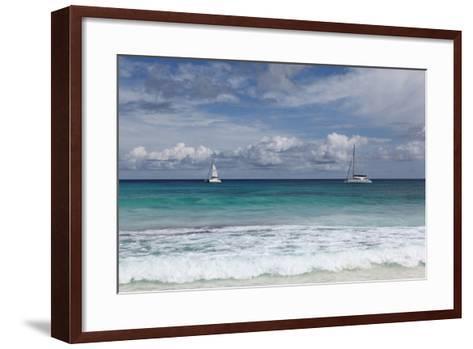 The Seychelles, La Digue, Anse Coco, Two Catamaran Yachtsmen-Catharina Lux-Framed Art Print