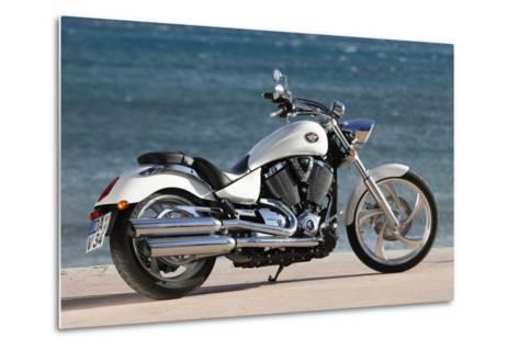 Motorcycle, Cruiser, Victory, White Metallic, Sea in the Background, Diagonal- Fact-Metal Print