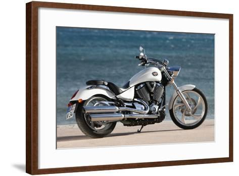 Motorcycle, Cruiser, Victory, White Metallic, Sea in the Background, Diagonal- Fact-Framed Art Print