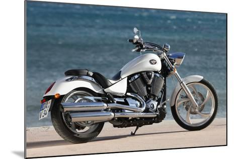 Motorcycle, Cruiser, Victory, White Metallic, Sea in the Background, Diagonal- Fact-Mounted Photographic Print