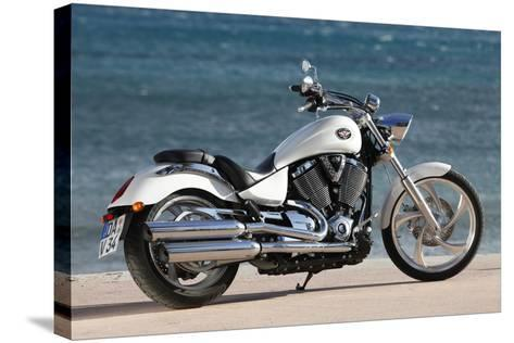 Motorcycle, Cruiser, Victory, White Metallic, Sea in the Background, Diagonal- Fact-Stretched Canvas Print