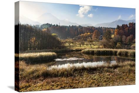 Autumn at Aichwaldsee-Simone Wunderlich-Stretched Canvas Print