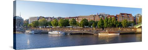 Banks of Weser, Martinianleger (Downtown Pier), Bremen, Germany, Europe-Chris Seba-Stretched Canvas Print