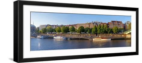 Banks of Weser, Martinianleger (Downtown Pier), Bremen, Germany, Europe-Chris Seba-Framed Art Print