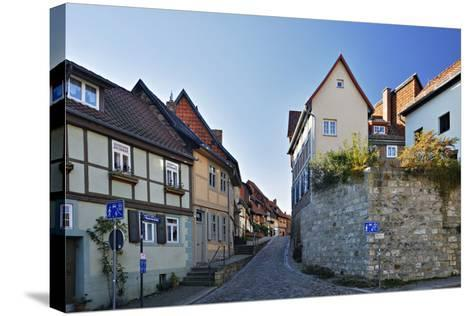 Germany, Saxony-Anhalt, Quedlinburg, Historical Old Town, Narrow Alley with Half-Timbered Houses-Andreas Vitting-Stretched Canvas Print