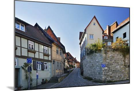 Germany, Saxony-Anhalt, Quedlinburg, Historical Old Town, Narrow Alley with Half-Timbered Houses-Andreas Vitting-Mounted Photographic Print