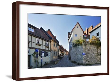 Germany, Saxony-Anhalt, Quedlinburg, Historical Old Town, Narrow Alley with Half-Timbered Houses-Andreas Vitting-Framed Art Print