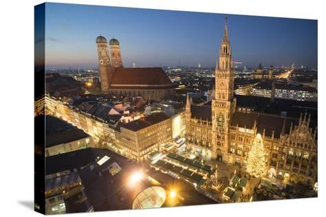 Christmas Fair, Marienplatz from Above, Munich, Bavaria, Germany-Benjamin Engler-Stretched Canvas Print