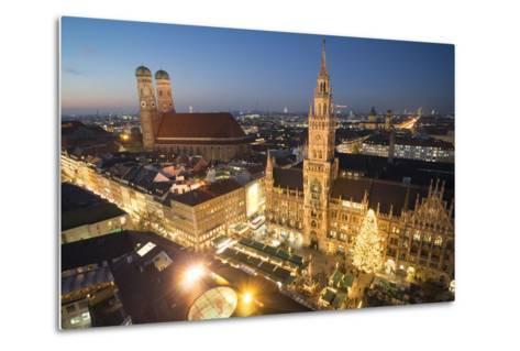 Christmas Fair, Marienplatz from Above, Munich, Bavaria, Germany-Benjamin Engler-Metal Print