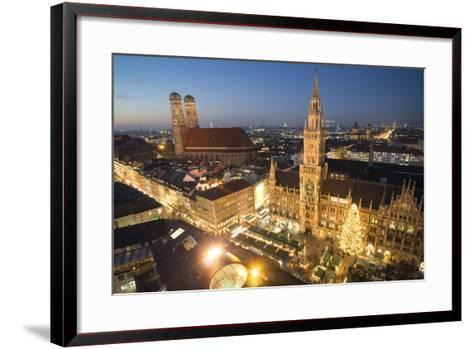 Christmas Fair, Marienplatz from Above, Munich, Bavaria, Germany-Benjamin Engler-Framed Art Print