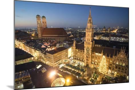 Christmas Fair, Marienplatz from Above, Munich, Bavaria, Germany-Benjamin Engler-Mounted Photographic Print