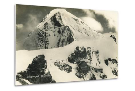 Postcard, Historical, Berghaus Jungfraujoch, Switzerland, the Bernese Alps, B/W- Starfoto-Metal Print