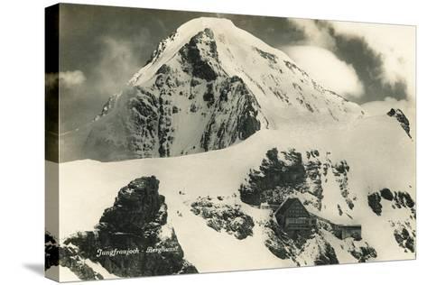 Postcard, Historical, Berghaus Jungfraujoch, Switzerland, the Bernese Alps, B/W- Starfoto-Stretched Canvas Print