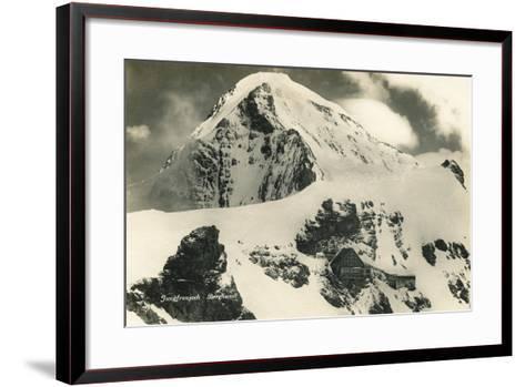 Postcard, Historical, Berghaus Jungfraujoch, Switzerland, the Bernese Alps, B/W- Starfoto-Framed Art Print