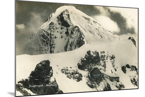 Postcard, Historical, Berghaus Jungfraujoch, Switzerland, the Bernese Alps, B/W- Starfoto-Mounted Photographic Print