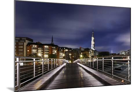 KibbelstegbrŸcke at Night, Speicherstadt, Hamburg-Mitte, Hanseatic City of Hamburg, Germany-Axel Schmies-Mounted Photographic Print