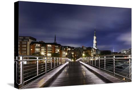 KibbelstegbrŸcke at Night, Speicherstadt, Hamburg-Mitte, Hanseatic City of Hamburg, Germany-Axel Schmies-Stretched Canvas Print
