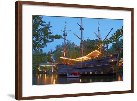 Denmark, Copenhagen, Amusement Park Tivoli, Sailing Ship, Historical, Replica, Illuminated, Evening-Chris Seba-Framed Art Print