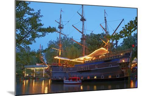 Denmark, Copenhagen, Amusement Park Tivoli, Sailing Ship, Historical, Replica, Illuminated, Evening-Chris Seba-Mounted Photographic Print