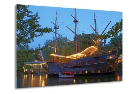 Denmark, Copenhagen, Amusement Park Tivoli, Sailing Ship, Historical, Replica, Illuminated, Evening-Chris Seba-Metal Print