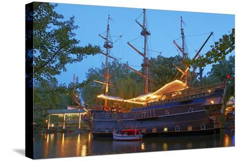 Denmark, Copenhagen, Amusement Park Tivoli, Sailing Ship, Historical, Replica, Illuminated, Evening-Chris Seba-Stretched Canvas Print