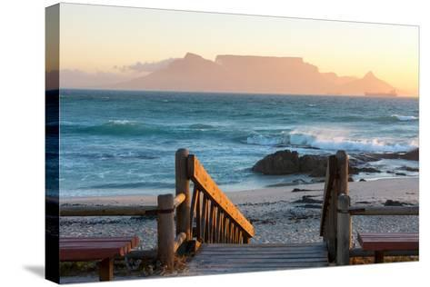 Cape Town, Table Mountain Seen from the Bloubergstrand-Catharina Lux-Stretched Canvas Print