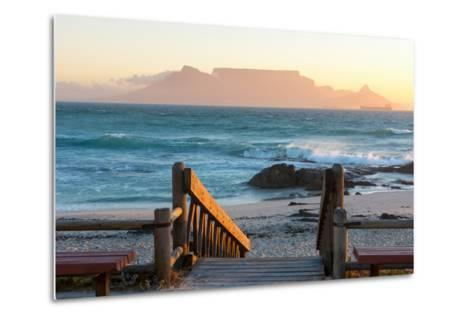 Cape Town, Table Mountain Seen from the Bloubergstrand-Catharina Lux-Metal Print