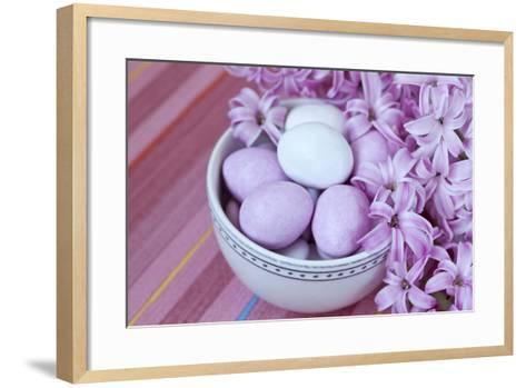 Hyacinth Blossoms and Easter Eggs-Andrea Haase-Framed Art Print