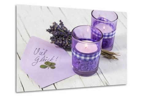 Lavender, Blossoms, Envelope, Four-Leafed Clover, Candles-Andrea Haase-Metal Print