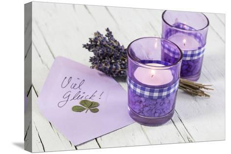 Lavender, Blossoms, Envelope, Four-Leafed Clover, Candles-Andrea Haase-Stretched Canvas Print