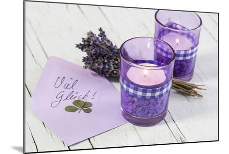 Lavender, Blossoms, Envelope, Four-Leafed Clover, Candles-Andrea Haase-Mounted Photographic Print