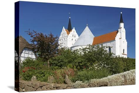 Denmark, Funen, Horne, Church, Thatched-Roof House, Garden-Chris Seba-Stretched Canvas Print