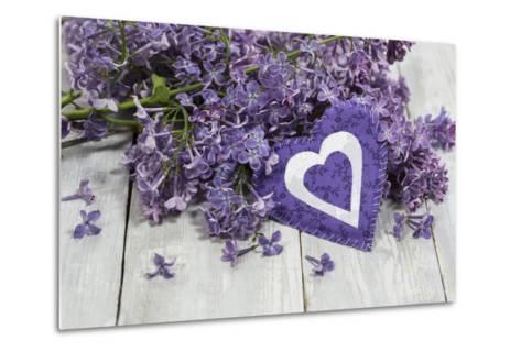 Lilacs, Flowers, Purple, Violet, Heart-Andrea Haase-Metal Print
