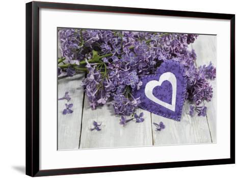 Lilacs, Flowers, Purple, Violet, Heart-Andrea Haase-Framed Art Print