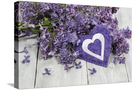 Lilacs, Flowers, Purple, Violet, Heart-Andrea Haase-Stretched Canvas Print