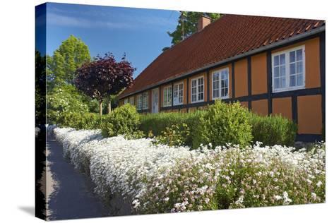 Denmark, Funen, Horne, House Facade, Wall, Flowers-Chris Seba-Stretched Canvas Print