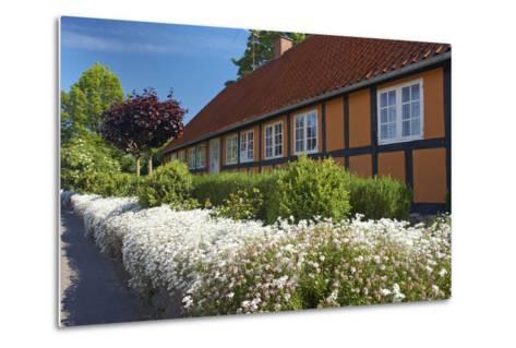 Denmark, Funen, Horne, House Facade, Wall, Flowers-Chris Seba-Metal Print